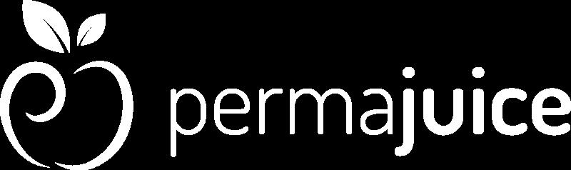 Le logo de permajuice en blanc