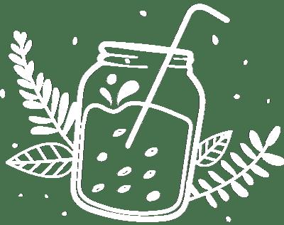 illustration présentant du smoothie dans une jar avec une paille