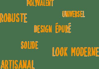 nuage de mots qui décrivent nos vélos smoothie : durables, solides, polyvalents, design, fabrication