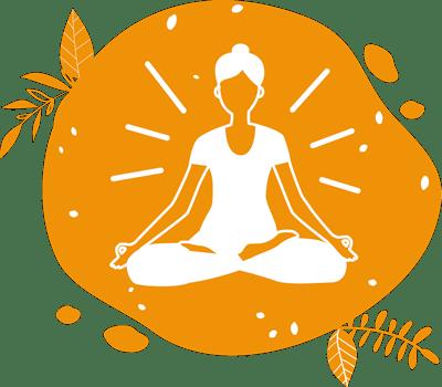 Picto réprésentant une femme faisant du yoga pour signifier de la faciliter de la mise en place d'une location ou animation de vélo à smoothie