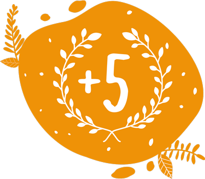pictogramme orange de forme abstraite plus de cinq années d'expérience dans l'animation la location et la vente de vélos pour mixer des smoothies