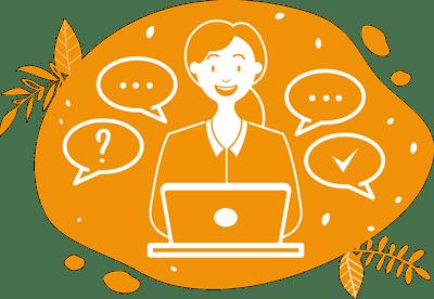 une collaboratrice répond aux questions des clients sur l'illustration