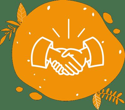 illustration avec deux mains qui se serrent pour évoquer les partenariats qui peuvent naître autour du vélo à jus et smoothies