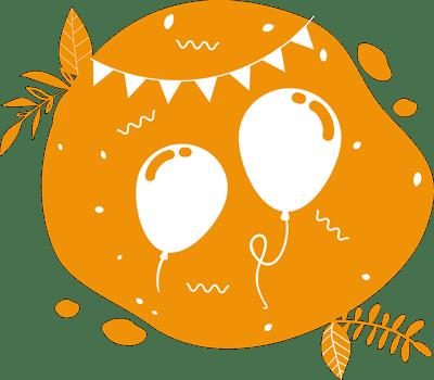 des ballons et guirlandes pour faire la fête avec les vélos mixeurs de fruits