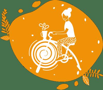 ce pictogramme présente une femme qui pédale son smoothie sur un vélo à mixer les smoothies