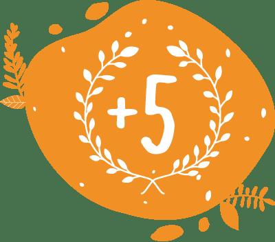 Ce pictogramme présentant une couronne de laurier avec un +5 plus cinq démontre nos cinq années d'expérience