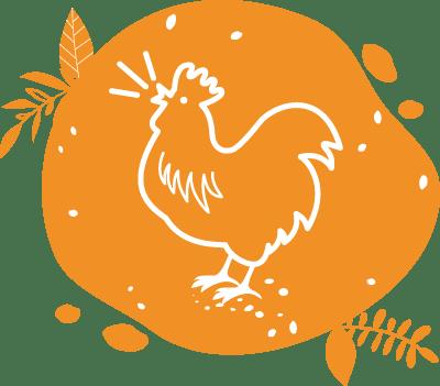 Un pictogramme illustré de coq français chantant