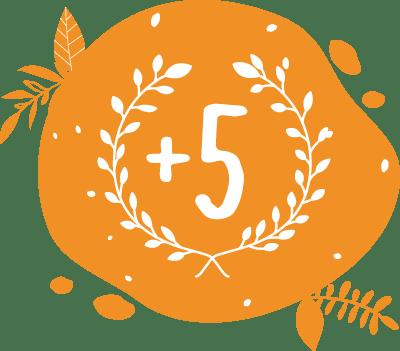 picto couronnes de laurier avec +5 pour représenter nos cinq années d'expérience