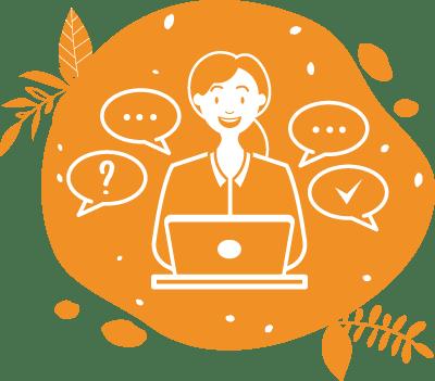 La collaboratrice conseille les clients pour leurs événements sains et responsables