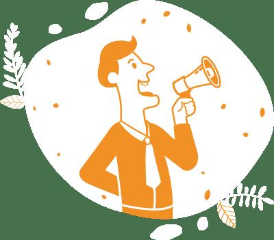 pictogramme présentant un homme qui parle dans un haut parleur