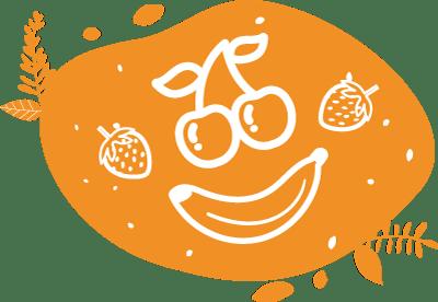 Pictogramme d'un visage souriant en fruits