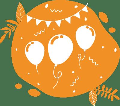 Ce pictogramme festif avec des guirlandes et des ballons peut faire penser à une kermesse d'école avec une animation smoothies