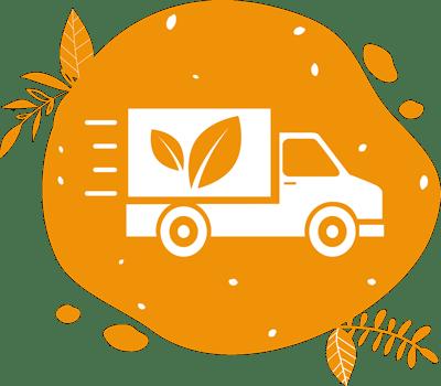 Un pictogramme de camion illustre la logistique simplifée