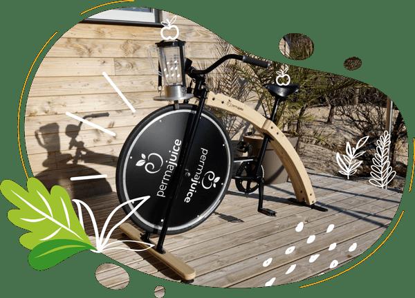 le vélo smoothie en bois a été fabriqué artisanalement dans la baie du mont saint michel