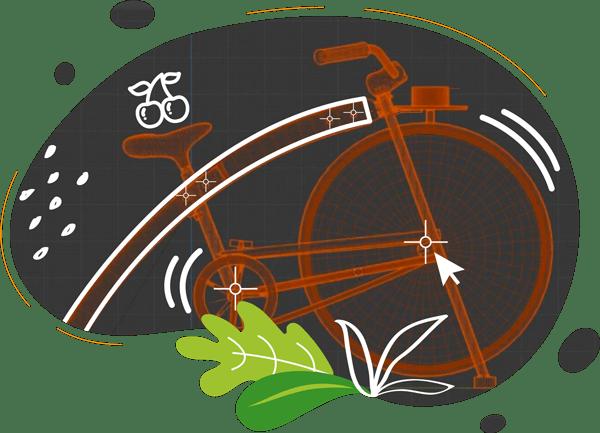 Illustration effet 3D du vélo cyclojuice en bois